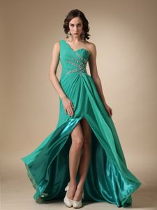 Green One Shoulder Ruched and Beaded Pageants Dress with Slit