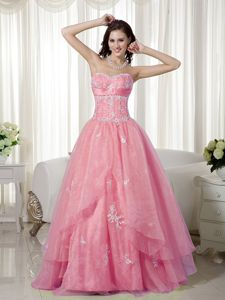 Rose Pink A-line Sweetheart Beaded Interview Pageant Suits