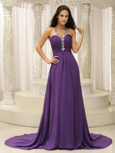 Straps Purple Girl Pageant Dress in Fall with Beading and Ruche