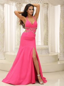 Halter-top V-neck Pageant Suits with Cut Out and High Slit