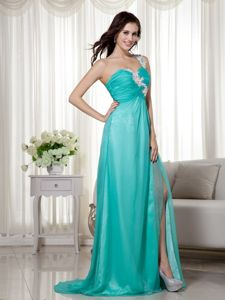 Turquoise One Shoulder Ruched Pageant Dresses with High Slit