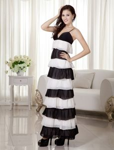 Spaghetti Straps Ankle-length Pageant Suits in White and Black