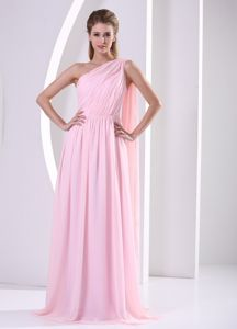Cheap One Shoulder Ruched Pink Pageant Dresses For Miss World