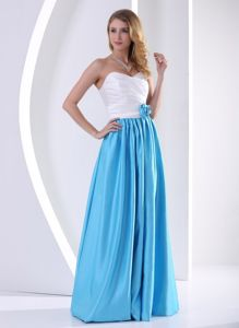 Sweetheart Pageant Girl Dresses in White and Blue with Ruche
