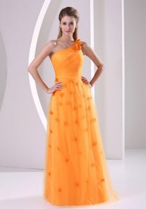 Orange One Shoulder Tulle Pageant Suits with Handmade Flowers