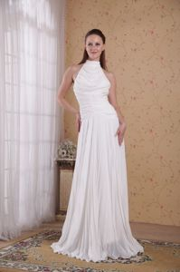 High Neck Sleeveless Empire Prom Pageant Dresses with Pleats