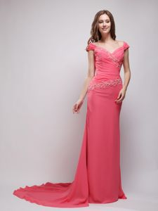 Cap Sleeves Court Strain Beaded Pageant Suits in Coral Red Color