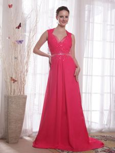 Beautiful V-neck Pageants Dresses in Coral Red with Beading