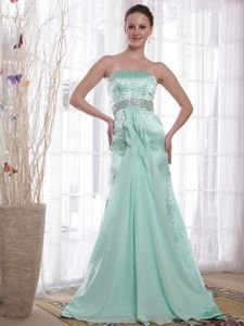 Apple Green Sweep Train Beaded Miss Universe Pageant Dress