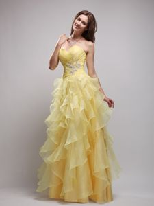Ruffled Layers Ruched and Beaded Pageant Dresses in Yellow