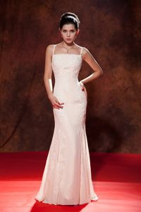 Dressy Spaghetti Straps Mermaid Pageant Dresses in White Color