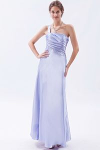 Lavender One Shoulder Prom Pageant Dresses for Girls with Ruche
