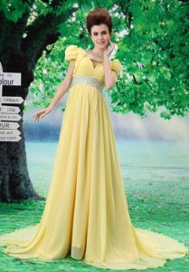 Special V-neck Beaded and Ruched Yellow Pageant Girl Dresses