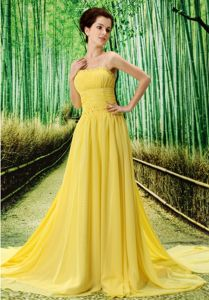 Special Strapless Beaded Yellow Miss Mississippi Pageant Dress