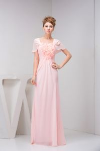 Cap Sleeves Youth Pageant Dress in Pink with Handmade Flower