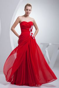 Luxurious Ruched Strapless Red Long Glitz Pageant Dresses with Appliques