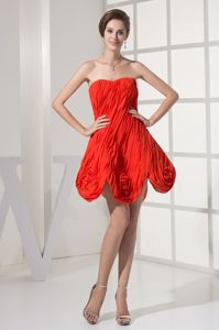 New Arrival Red Ruched Strapless Short Girl Pageant Dresses with Flowers