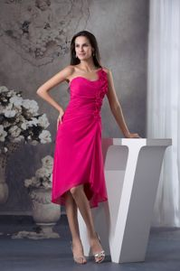 Brand New Hot Pink One Shoulder Pageant Dresses with Flowers in Killin