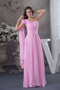 New Arrival Pink Ruched One Shoulder Floor-length Dresses For Pageants