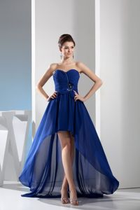 Unique High-low Royal Blue Sweetheart Girl Pageant Dresses with Beading