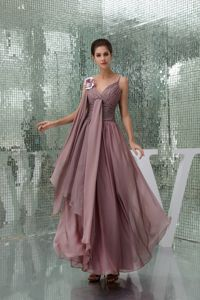 Modest Brown Ruched Long Beauty Pageant Dress with Flower and Straps