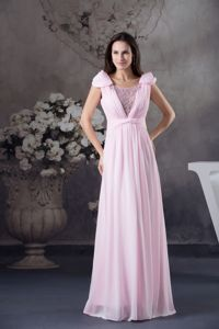 Unique Beaded Scoop Pink Long Interview Pageant Suits with Cap Sleeves