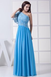Special Lace One Shoulder Baby Blue Long Miss Universe Pageant Dress