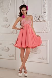 Lovely Sweetheart Watermelon Beaded Short Beauty Pageant Dress in Alva