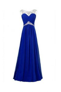 Fantastic Beading Pageant Dress for Teens Royal Blue Zipper Sleeveless Floor Length
