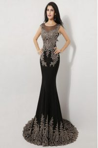 Mermaid Scoop Floor Length Zipper Evening Gowns Black for Prom and Party with Appliques Brush Train
