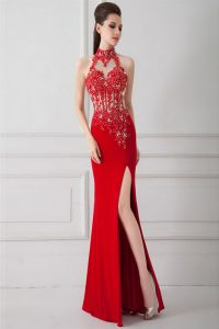Nice Red Silk Like Satin Zipper High-neck Sleeveless Floor Length Pageant Dresses Beading and Appliques