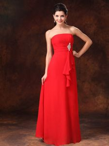 Elegant Strapless Red Floor-length Beaded Miss Universe Pageant Dresses