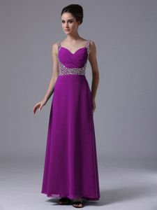 Modest Purple Ankle-length Pageant Girl Dresses with Beading and Straps