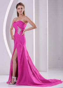 Sexy High Slit Fuchsia Ruched Sweetheart Glitz Pageant Dress with Beading