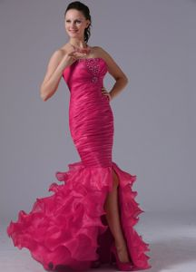 Mermaid Coral Red Strapless Interview Pageant Dress with Slit with Ruffles