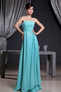 Turquoise Strapless Beaded Brush Train Pageant Dresses For Miss World
