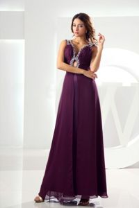Low Back V-neck Purple Beaded Long Interview Pageant Suit with Cutout