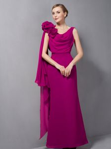 Modest Fuchsia Drapped V-neck Long Glitz Pageant Dresses with Flowers