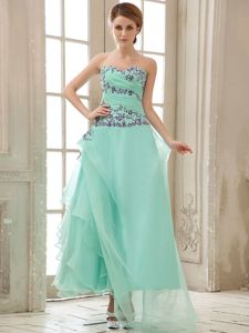 New Asymmetrical Sweetheart Apple Green Pageant Dress with Appliques