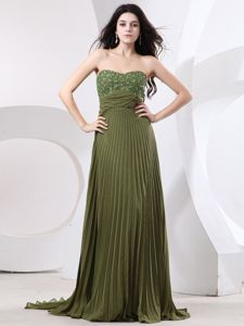 Brand New Olive Green Strapless Pleated Long Girl Pageant Dress in Plano