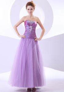 Elegant Lavender Strapless Ankle-length Pageant Girl Dresses with Beading
