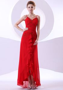 Wholesale Red Beaded Ankle-length Pageant Dress with Ruffles and Straps