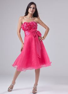 New Hot Pink Sweetheart Pageant Girl Dresses with Flowers and Bowknot