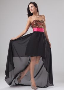 Elegant High-low Black Strapless Girl Pageant Dress with Paillette in Selkirk