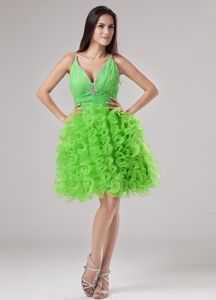 New Arrival Spring Green V-neck Short Dresses For Pageants with Ruffles