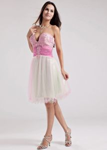 Popular Sweetheart Pink and White Pageant Dress For Girls with Beading