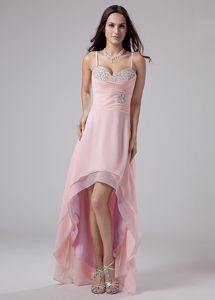 Hot Sale High-low Pink Miss Universe Pageant Dress with Spaghetti Straps