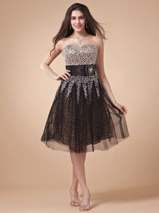 Special Sweetheart Black Dress For Pageants In Nj with Leopard and Net