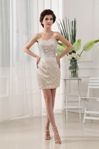 Modest Sweetheart Beaded Champagne Mini-length Dresses For Pageants