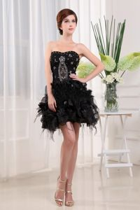 Brand New Strapless Black Beaded Pageant Dresses For Girls with Ruffles